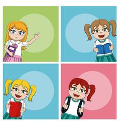 cute school girls vector image