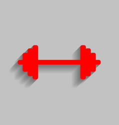 dumbbell weights sign red icon with soft vector image