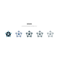 Edges icon in different style two colored and vector