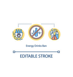 Energy drinks ban concept icon warning vector