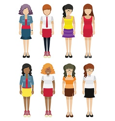 Faceless women template vector image