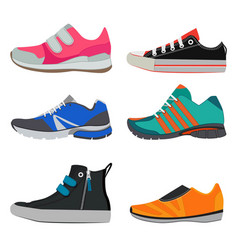 fashion pictures of different sport sneakers vector image