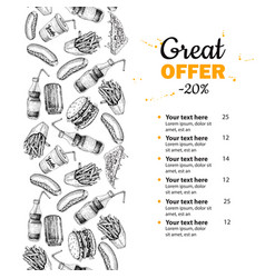 fast food hand drawn menu hand drawn junk vector image