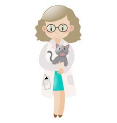 female vet holding pet cat vector image