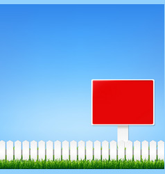 Fence and grass border with sign vector