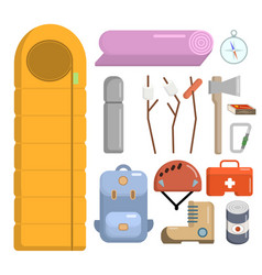 flat style camping icons set vector image