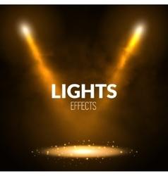 Floodlights spotlights illuminates scene with vector image