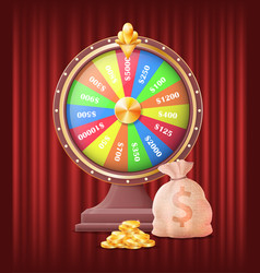 fortune wheel gambling game with bag with money vector image
