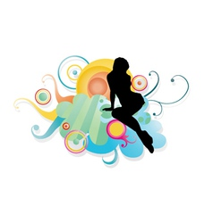 Girl with floral vector