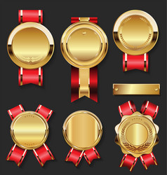 gold medal with red ribbons collection 1 vector image