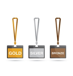 Gold silver and bronze lanyards vector
