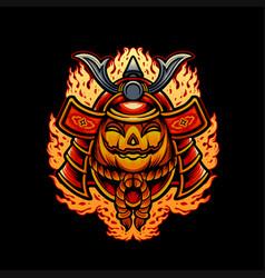 halloween pumpkins japanese mask samurai armor vector image