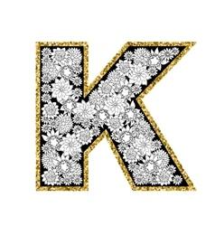 Hand drawn floral alphabet design Gold glittering vector image