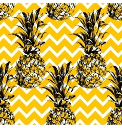 Hand drawn pineapple seamless pattern vector image