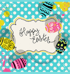 happy easter retro greeting card with vintage vector image