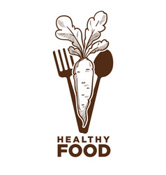 Healthy food ripe carrot and cutlery monochrome vector
