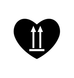 Heart black icon this side up marking of cargo vector