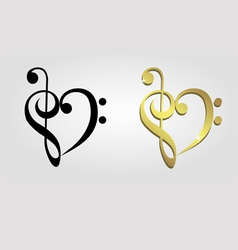Heart formed treble clef and bass clef vector