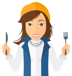 Hungry woman waiting for food vector image