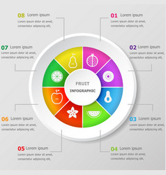 Infographic design template with fruit icons vector