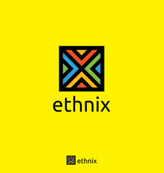 initial letter x logo square cube shape ethnic vector image
