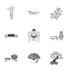 Japan set icons in monochrome style Big vector