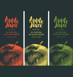 Labels for apple juice with apple and inscription vector
