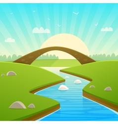 Landscape With Stone Bridge vector