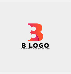 Letter b community human logo template icon vector
