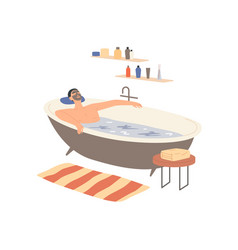 man with a clay mask on his face takes a bath vector image