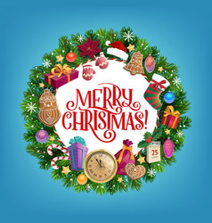 merry christmas gifts new year holiday wreath vector image