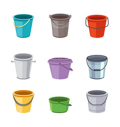 Metal and plastic buckets and pails set cartoon vector