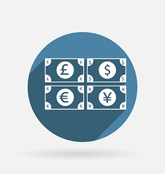 money bill Circle blue icon with shadow vector image
