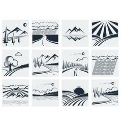 Nature landscape icons vector image