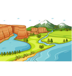 nature scene background with river running down vector image
