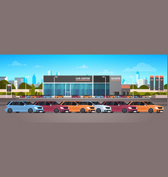 New vechicles car dealer center showroom building vector