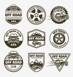 Off-road suv car set monochrome emblems vector