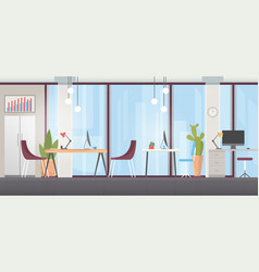 office room interior flat vector image