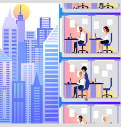 Office workers working in city skyscraper vector