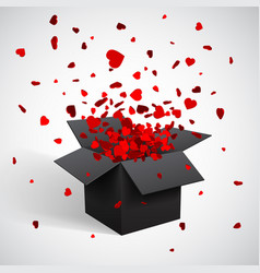 Open black gift box and heart confetti christmas vector ... : exploding gift box confetti - princetonregatta.org