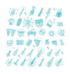 Outline flat icons music vector