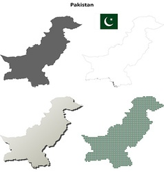 Pakistan outline map set vector image vector image