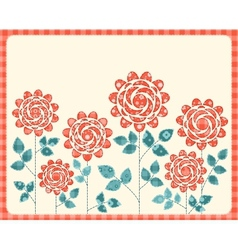 Patchwork roses card vector