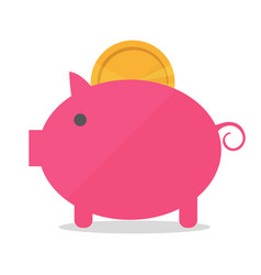 pig piggy bank with coin in vector image