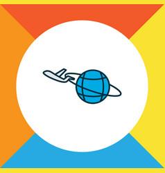 plane around the world icon colored line symbol vector image