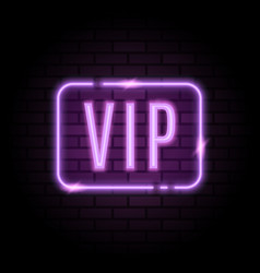 Purple neon frame with vip sign vector