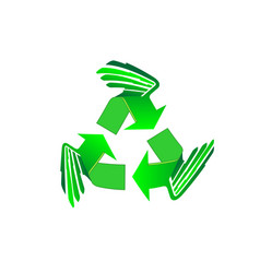 recycled eco wings icon set recycle arrows vector image