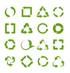 recycling icons various green circle arrow vector image