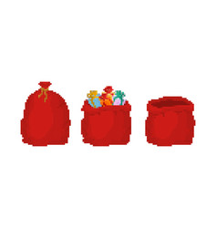 Red bag santa claus pixel art set 8bit large sack vector