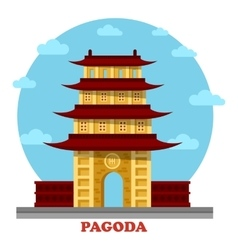 Religious pagoda or tiered tower with eaves vector image